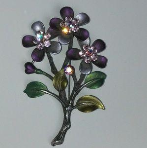 Vintage purple ab rhinestone floral brooch